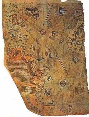 La mappa di Piri Reis è stata commissionata nel 1513 da Piri ibn Haji, un ammiraglio turco, e in seguito è stata ritrovata da un capitano della Marina degli Stati Uniti con l'hobby di collezionare vecchie mappe. La mappa ha delle caratteristiche strane e inspiegabili, compreso un profilo completo e accurato del Sudamerica, nonostante Colombo avesse scoperto il Nuovo Mondo solo 21 anni prima.