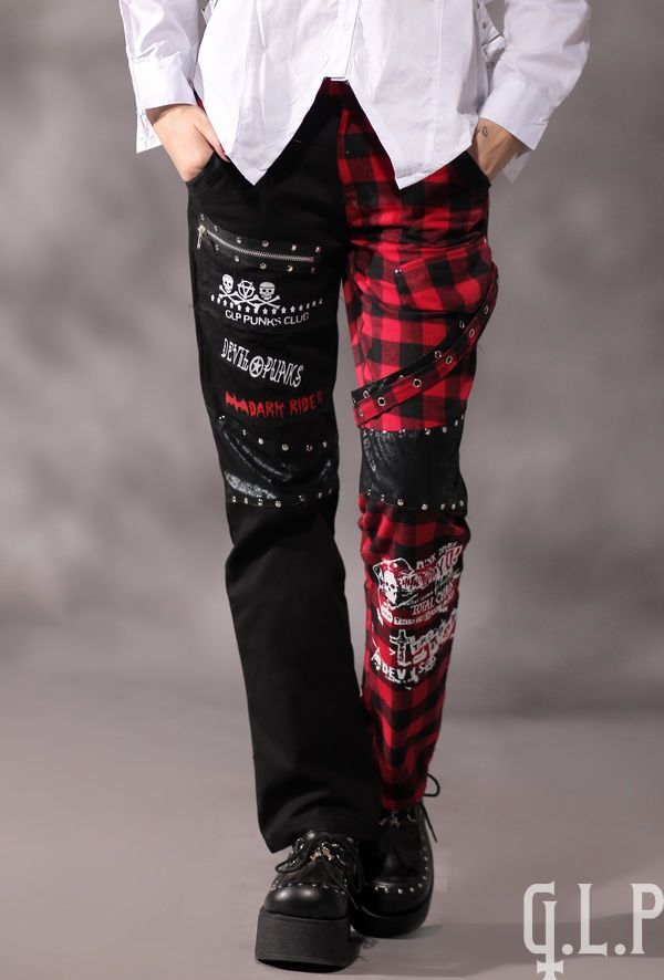 Spodnie szkocka krata G.L.P visual kei punk j-rock ćwieki pasy, V-Kei