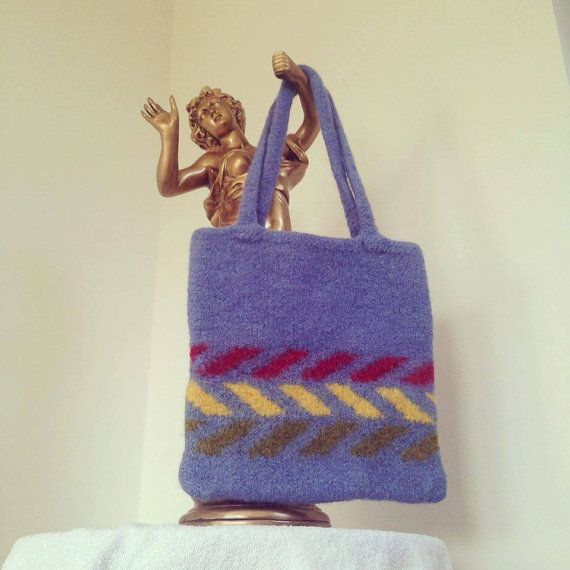 Felt handbag wool handmade feminine accessories by justknitted1
