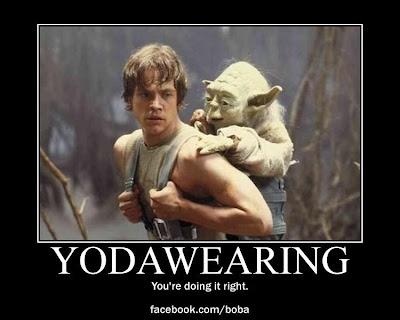 Yodawearing. Star Wars babywearing.