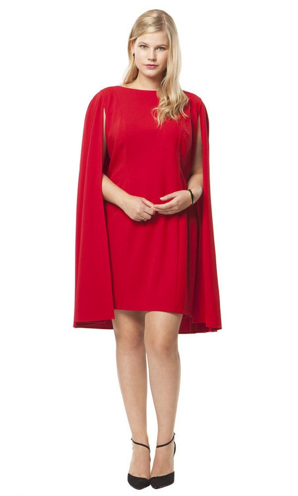 The Curvy Fashionista | Structured Cape Dress in Red by Adrianna Papell at HeyGorgeous | The Curvy Fashionista
