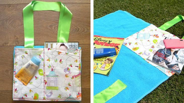 Transforma una toalla en un bolso para la playa en 4 simples pasos