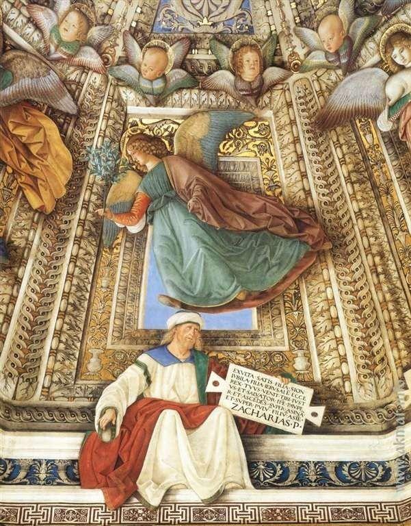 Melozzo_da_Forl. Ангел держит орудия страстей Христовых над пророком Захарией. После 1484. Купол ризницы Сан-Марко базилики Санта делла Каса. Лорето. Италия