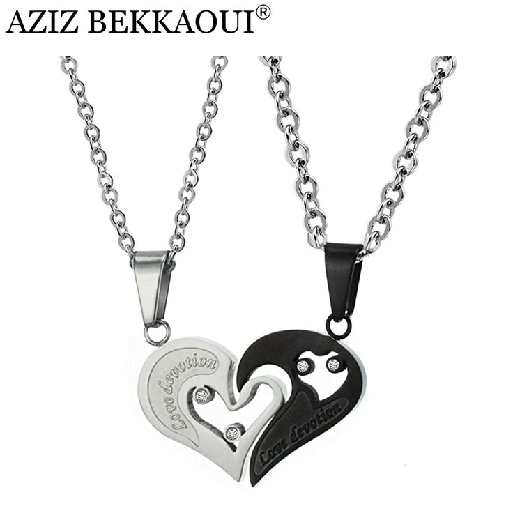 >> Click to Buy << AZIZ BEKKAOUI couple heart necklace for women men romantic stainless steel fashion jewelry broken heart pendant necklace gift #Affiliate