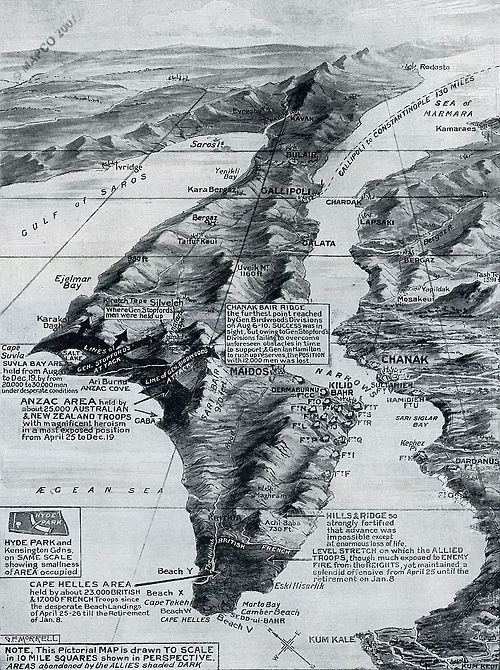 Map: The Gallipoli Withdrawal, 1916