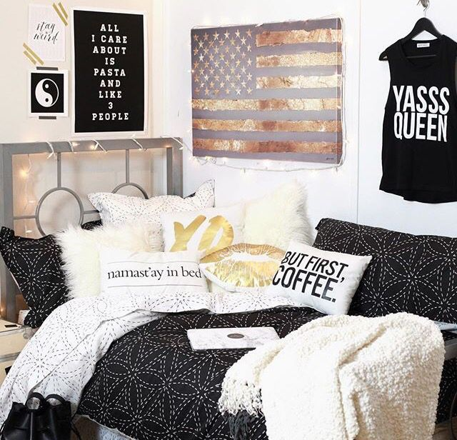 Dorm White And Gold Bedroom Tumblr White And Grey Bedroom
