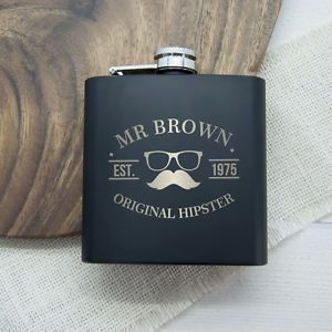 Original-Hipster-039-s-Black-Hip-Flask-Moustache-Personalised-Christmas-Present