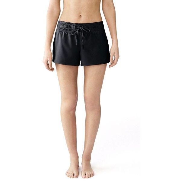 Lands' End Women's Petite AquaSport 3 Swim Shorts ($35) ❤ liked on Polyvore featuring swimwear, bikinis, bikini bottoms, black, swim bikini, petite bikini, swim trunks, swimming bikini and lands' end