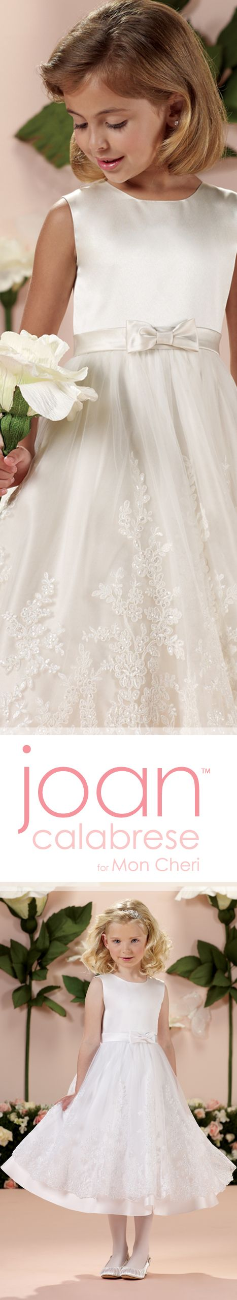 Style No. 114341 ~ Sleeveless satin and tulle tea-length A-line dress with jewel neckline, satin set-in waistband with center front bow, covered buttons down back bodice, tulle overlay skirt with wide lace appliqué and satin hemline, perfect as a flower girl dress or First Holy Communion dress.