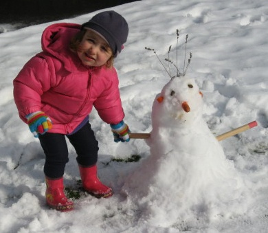 Here in New Zealand, we really do have snow in July! Last year my granddaughter and I made her first-ever snowman. His name is Princess. Here's to playing outdoors, no matter the weather! Enjoy...