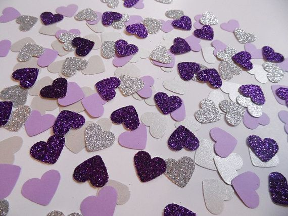 Silver and Purple Glitter Heart Confetti, Wedding Reception Decoration, Table Scatter, Paper Confetti, Bridal Shower Decor