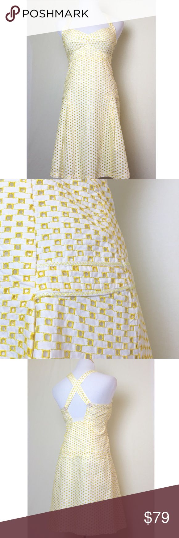 Gorgeous Cynthia Steffe pin up dress White and yellow retro style dress with square eyelet pattern. Sweetheart neckline. Straps cross in back with buttons. Hidden side zip. Fully lined. Like new. Cynthia Steffe Dresses