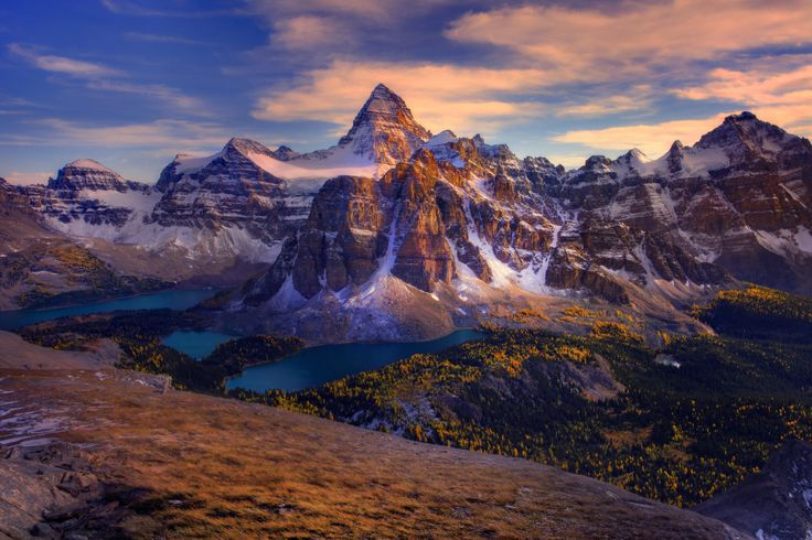 Earth Mount Assiniboine  Canada Landscape Earth Forest Mountain Lake Panorama Wallpaper