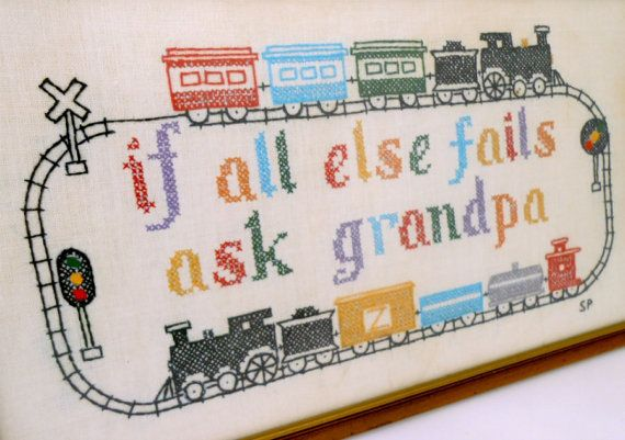 Embroidered Train Wall Hanging Ask Grandpa Vintage by my3luvbugs