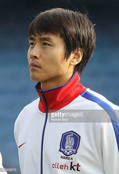 Lee DongGook of Korea looks on during the national anthems ahead of the International Friendly match between Ivory Coast and Republic of Korea played...