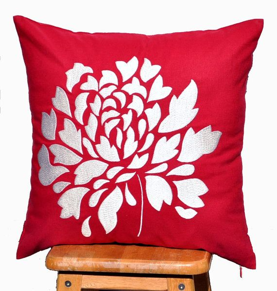 """White Dahlia - Embroidered Decorative Pillow Cover 18"""" x 18""""- Red"""