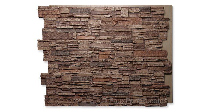 sierra brown colorado stacked stone tall  wainscoting