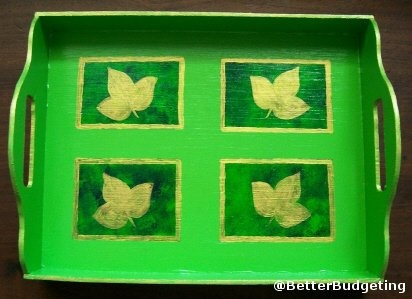 One can change a relatively simple tray into something quite unusual through the application of painting and stenciling techniques.