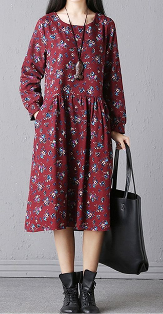Women loose fit over size flower pocket dress long sleeve tunic casual fashion #Unbranded #dress #Casual
