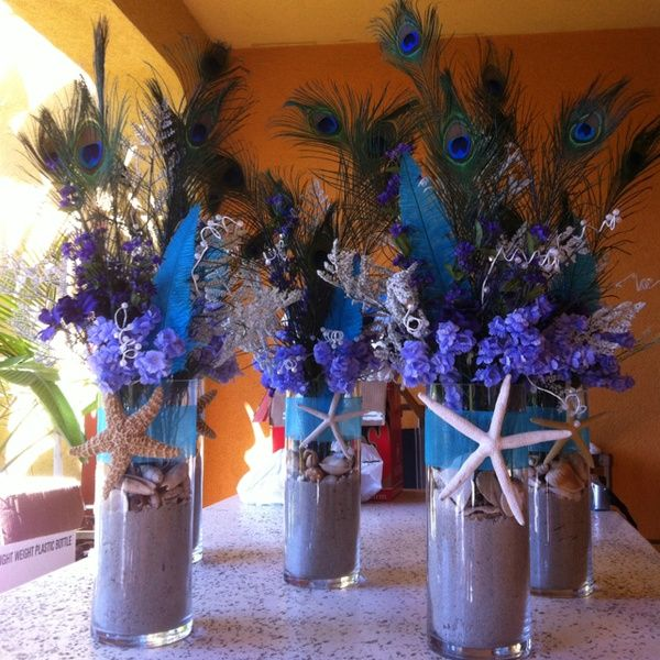 Best peacock feather centerpieces images on