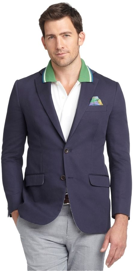$134, Navy Cotton Blazer: Brooks Brothers Fitzgerald Fit Cotton Linen Sport Coat. Sold by Brooks Brothers. Click for more info: https://lookastic.com/men/shop_items/144402/redirect