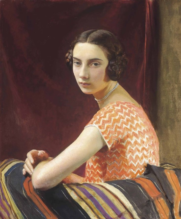 The Orange Dress (1926). George Spencer Watson (English, 1869-1934). Oil on…