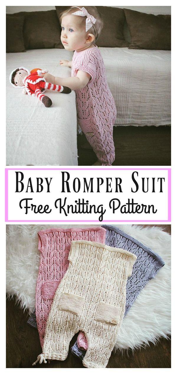 Baby Romper Suit Free Knitting Pattern #freeknittingpattern #babyknits #romper