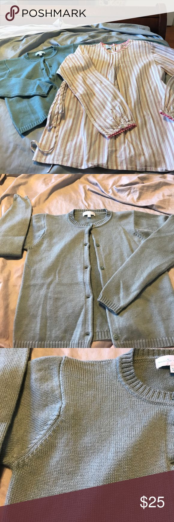 Marie Chantal bundle. Size 12 sweater and top Loose fit stripe cotton top. Ric rac wrist and collar. Back button closure. Side tie. Green cardigan sweater. 100% extra fine merino wool. Marie Chantal Shirts & Tops