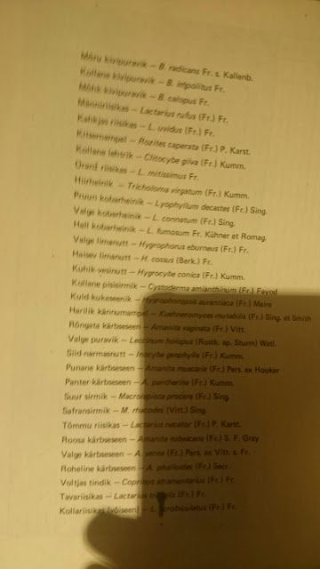 Mushrooms names are on estonian and latin languages.