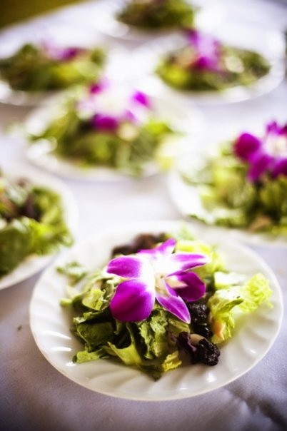 dinner salad with edible flowers