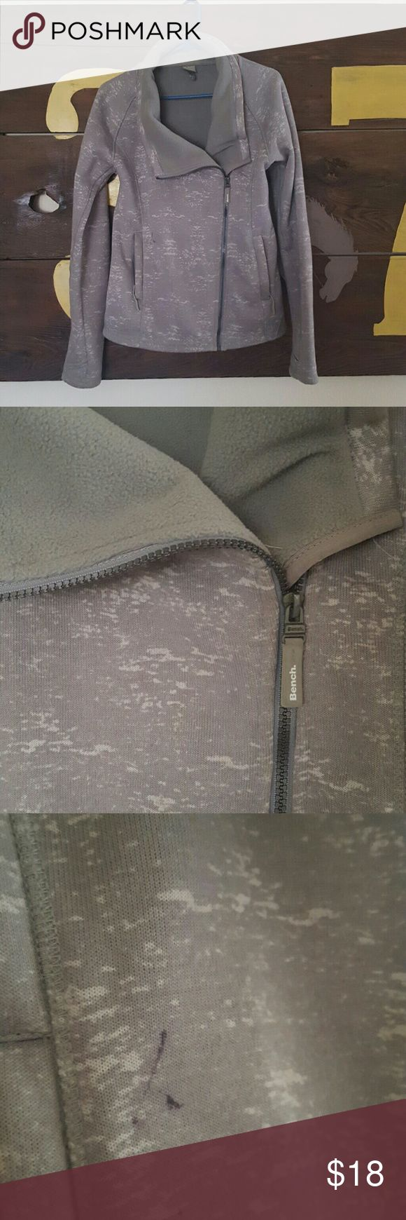 """Bench Jacket Super flattering. Fitted. Fleece lined. Gray with white """"mottling"""". Small ink mark next to pocket. One label is coming unstitched. Last two photos show. Price reflects flaws. Otherwise great condition, super comfy, and very flattering. Size large but fits like a medium. Bench Jackets & Coats"""