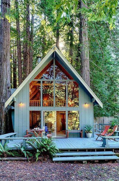 Kleurrijk huisje in het bos