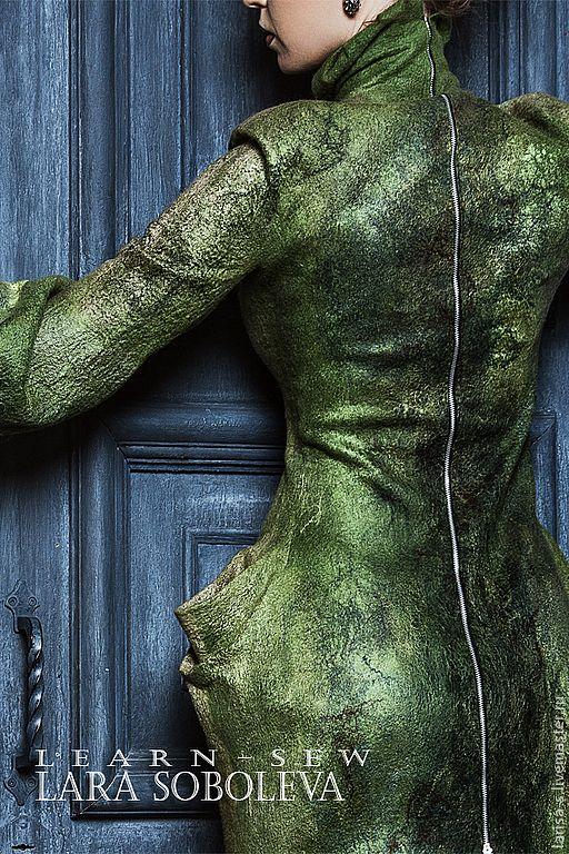 Купить Валяное платье Fafnir(s) - войлок, валяная одежда, Мокрое валяние, готика, готическое платье