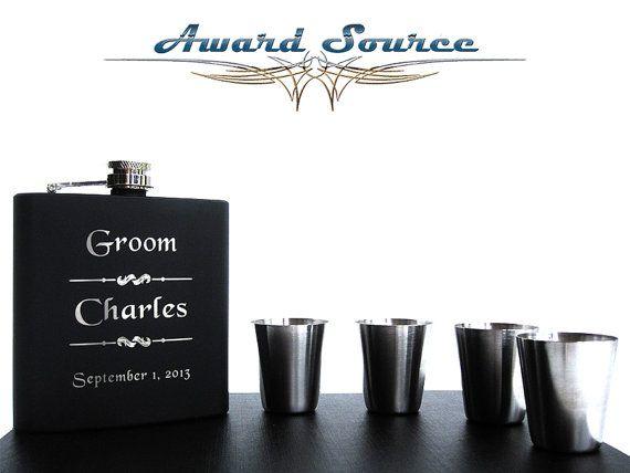 Wedding Groomsman hip flask Gift Set by AwardSourceLLC on Etsy