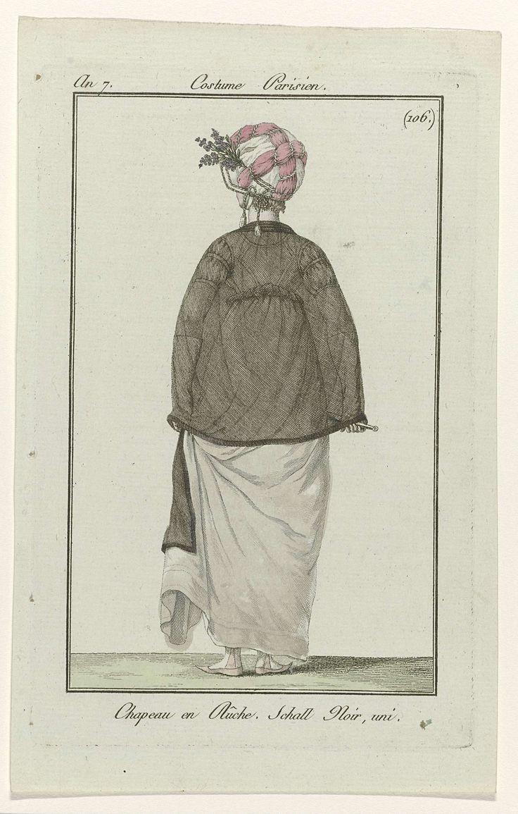 Journal des Dames et des Modes, Costume Parisien, 9 mai 1799, An 7 (106) : Chapeau en Rûche..., Anonymous, 1799