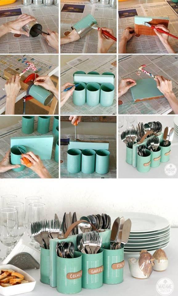 Love this! Yon cans, crafft, paint, wood, scraps, recycle, good ideas, original, reuse, cheap, DIY, http://www.madamecriativa.com.br/posts-recentes/porta-talheres-com-ala-feito-com-latas-madeira-e-couro