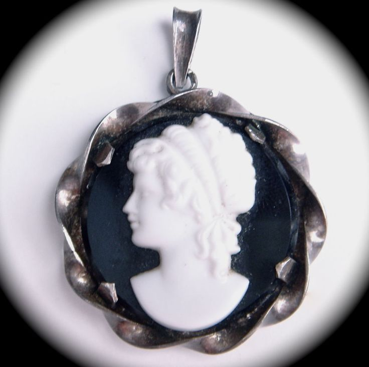 Antique Art Deco 900 Silver Czech Glass Cameo Pendant Necklace Lady #Unbranded #Cameo
