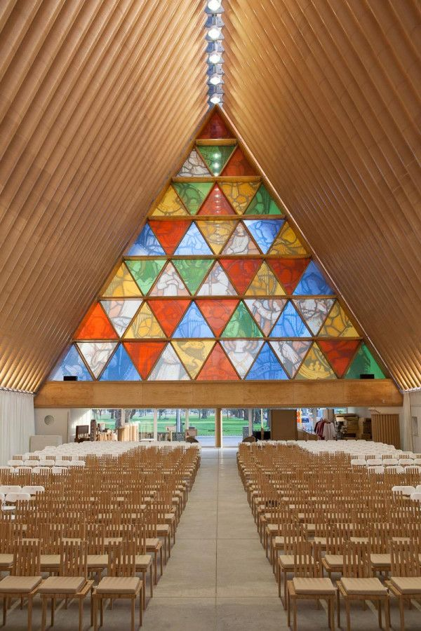 Shigeru Ban's Cardboard Cathedral in New Zealand is made of 98 cardboard tubes and 8 steel shipping containers