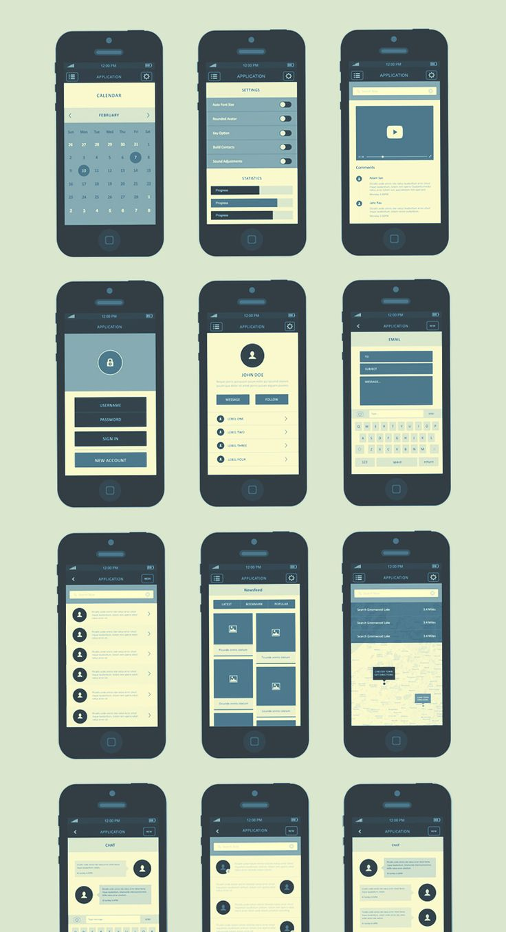 iPhone App Wireframe Kit - By Graphicsoulz