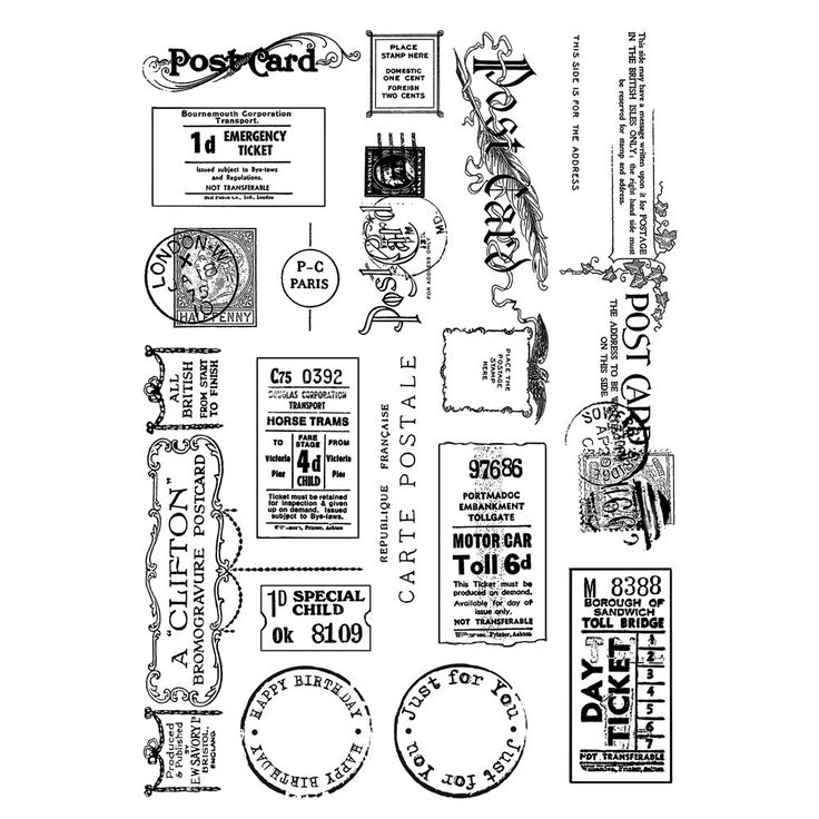 Crafty Individuals CI-307 - 'Vintage Tickets and Ephemera' Art Rubber Stamps, 96mm x 137mm