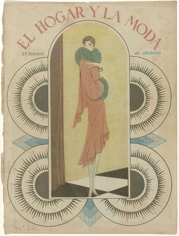 Anonymous | The Fashion Magazine as Temptress, Anonymous, c. 1928 - c. 1929 | Omslag van het Hongaarse modeblad El Hogar y la Moda: japon die aan de achterkant langer valt dan aan de voorkant. Manchetten en kraag met bont.