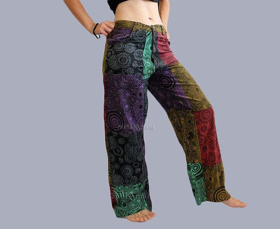 UC-09C Nepalese Funky Festival Hippy Block Printed Durable Cotton Trouser Pant