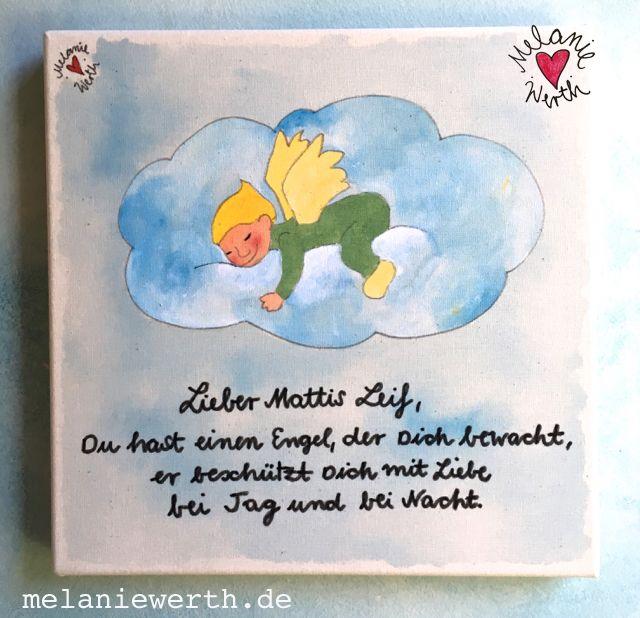 Schlafender Schutzengel Kinderzimmerbild Taufe