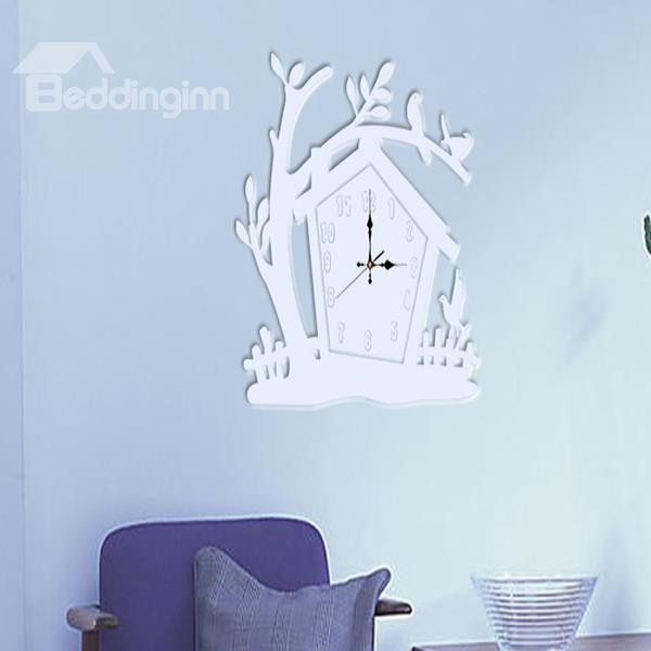 Art And Home Decor Part - 39: Amazing White Acrylic Tree House Pattern Decorative Wall Stickers