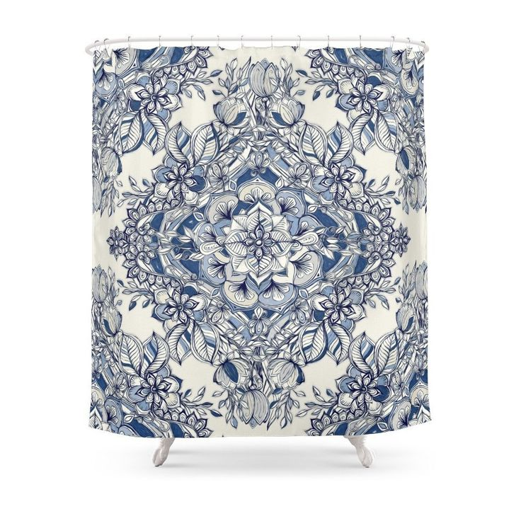 Floral Diamond Doodle In Dark Blue And Cream Shower Curtain Waterproof Bathroom Shower Curtains Shower. Yesterday's price: US $26.95 (22.28 EUR). Today's price: US $19.13 (15.82 EUR). Discount: 29%.