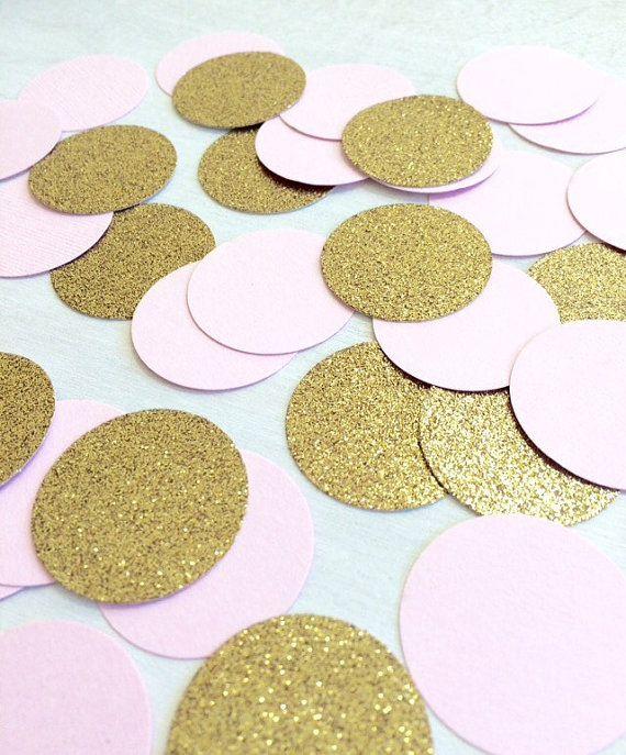 Blush Pink & Gold Glitter Confetti   Circle Confetti   Bridal Shower   Table Decor   Wedding   Baby Shower   Small Confetti   Gold