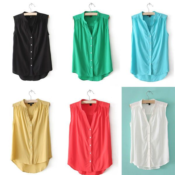 Aliexpress.com : Buy Hot Sale Summer New Elegant Women Blouse Solid Color V Neck Casual Top Tank Sleeveless Comfy Chiffon Shirt 6 Colors WF 3999 from Reliable shirt shirt suppliers on Fancyqube Fashion store | Alibaba Group