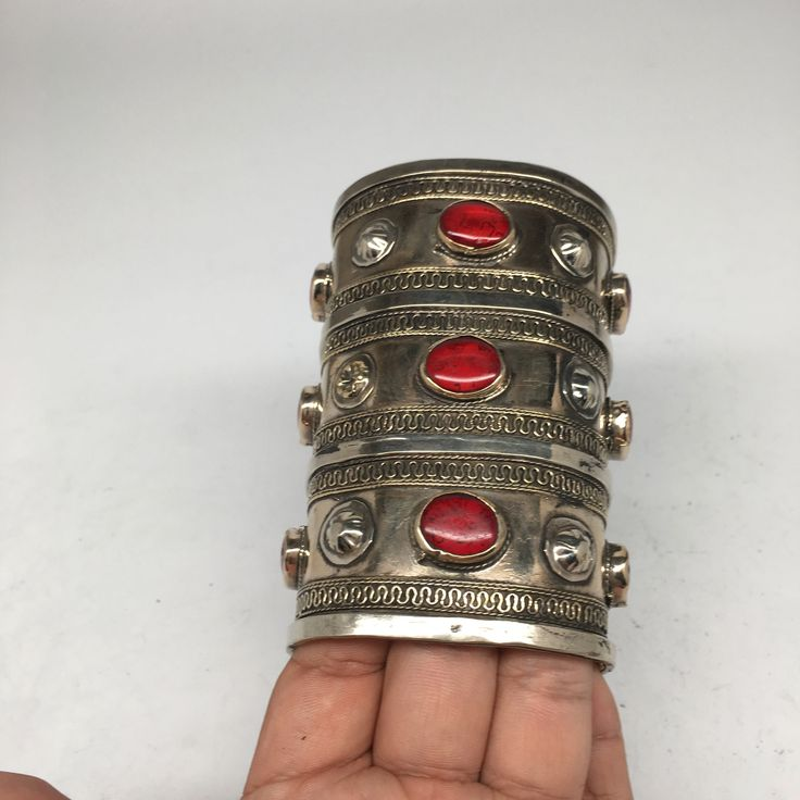 """1 Pc Old Vintage Afghan Turkmen Tribal Carnelian Inlay Boho Cuff Bracelet,KB56. 1 Pc Old Vintage Afghan Turkmen Tribal Carnelian Inlay Boho Cuff Bracelet,KB56 Length: About 4"""" inchesWidth Wider Part: About 2.6"""" Width Smaller Part: About 2.4""""Weight: about143.9grams Sold: 1 Bracelet per listed price How Old: About 50 years or so, made before the Soviet occupations in Afghanistan. So, that means before 1979. Approximately 50 years more or less. Don't know exact year. But, they are difficult…"""