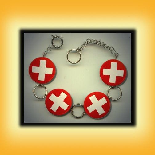 SWITZERLAND SWISS Flag Altered Art Button Charm Bracelet with Rhinestone. $17.00, via Etsy.