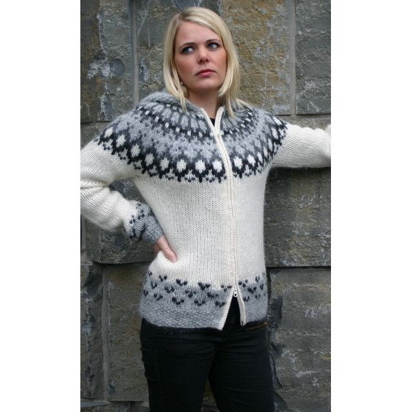 Icelandic Wool | Hand knitted Wool Cardigans with Zipper | Women's White Cardigan With Zipper & Hood